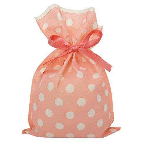 かわいい 水玉 ラッピング 袋 10枚 セット 不織布 リボン 付き プレゼント 袋 M (ピンク)