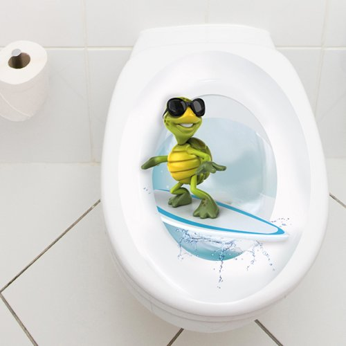 Wandkings Toilet Lid Decal Surfing Turtle 11 8 X 15 7 Inch Hardw