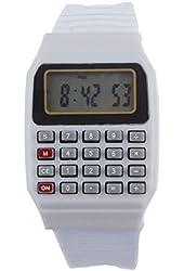 Lookatool Unsex Silicone Multi-Purpose Date Time Electronic Wrist Calculator Watch White