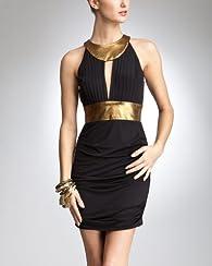 Gold Trim Keyhole Dress - bebe Addiction