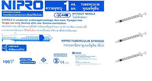 NIPRO Syringe 1cc Luer Slip Tip Sterile 100/box (Reusable Sharps Container compare prices)