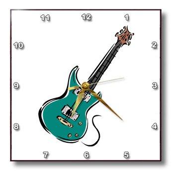 Dpp_164413_2 Susans Zoo Crew Music - Teal Electric Guitar Music Graphic - Wall Clocks - 13X13 Wall Clock
