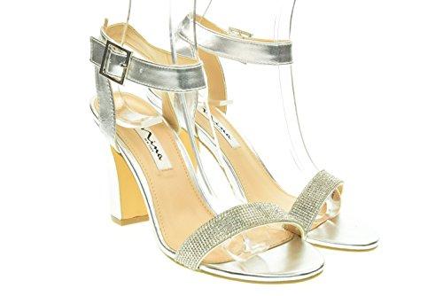 NINA donna sandali SOLANGE-M SILVER 39.5 Silver