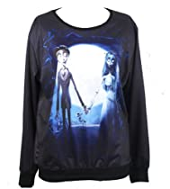 Injoy Neon Galaxy Cosmic Colorful Patterns Printing Sweatshirt Sweaters Tee (Free size, Corpse bride)