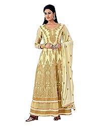 Maruti Suit Women's Faux Georgette Suit Material (16004, Beige, Free Size)