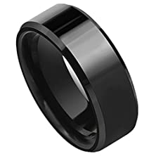 buy King Will Unisex 8Mm Black Tungsten Carbide Ring Wedding Band Polished Finish Beveled Edge Comfort Fit(7)