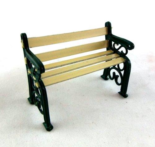 Puppenhaus Miniatur 1:24 Maßstab Möbelstück Gartenbank Grün Gefertigte Eisen Holz