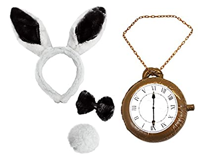 White Rabbit Ears + Bow Tie + Tail + Inflatable Jumbo Clock Medallion Necklace Book Week Fancy Dress Set