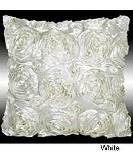 White Satin Cushion Cover - 3D Effect - Roses