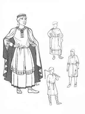 Men of Medieval Romanesque Period Pattern