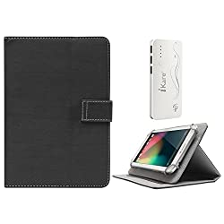 DMG Protective 7in Flip Book Cover Case for Nxi Ffe7 (Black) + 10000 mAh Three USB Port Power Bank