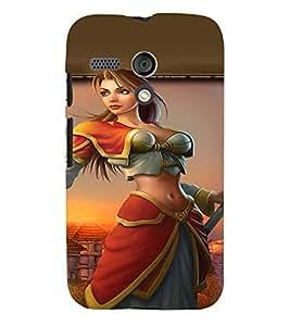 PRINTVISA Warrior Girl Case Cover for Motorola Moto G