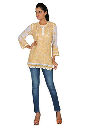 Indiankala4U Women's Lucknowi Chikankari/Chikan Hand Embroidery Georgette Kurtis/Kurta -White And Yellow...