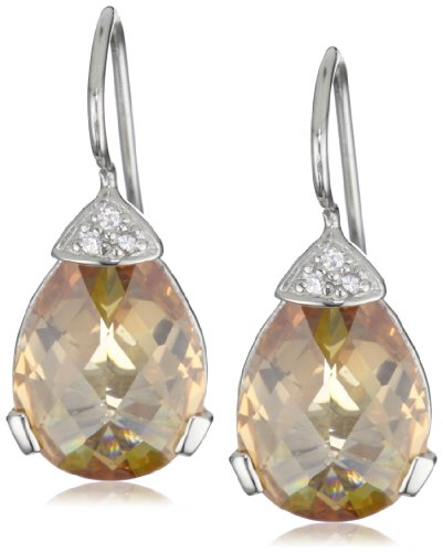 Giorgio Martello Sterling Silver Rhodium Plated Cubic Zirconium Earrings