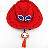Fashion Anime One piece Ace Hat Prop DIY Cosplay Accessory RED