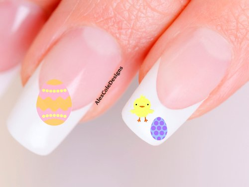 Easter Eggs n' Baby Chicks Nail Decals-Waterslide Nail Decals
