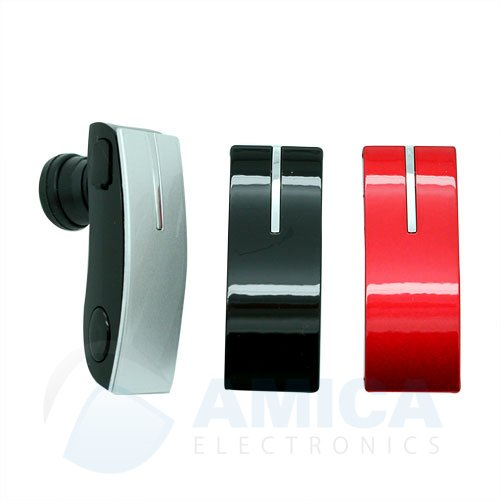 Multi Color Bluetooth Headset For All Nokia Phones With 3 Changeable Face Plates Black, Red And Silver With Free Wall And Car Charger.