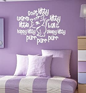 Red - Soft Kitty Warm Kitty Purr Purr Purr - Vinyl Wall Decal By Great Walls of Fire