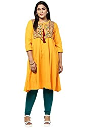 Alto Moda by Pantaloons Womens Cotton Kurta Mango_3