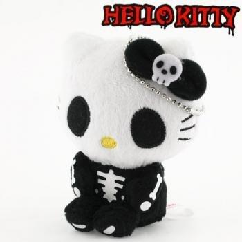 takara-tomy-arts-sanrio-hello-kitty-monster-collection-plush-doll-ball-chain-skeleton