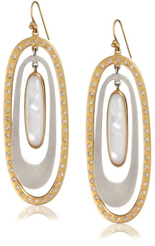 Lauren Harper Collection Over the Moon 18k Gold, Silver, Mother-Of-Pearl and Diamond Oval Drop Earrings