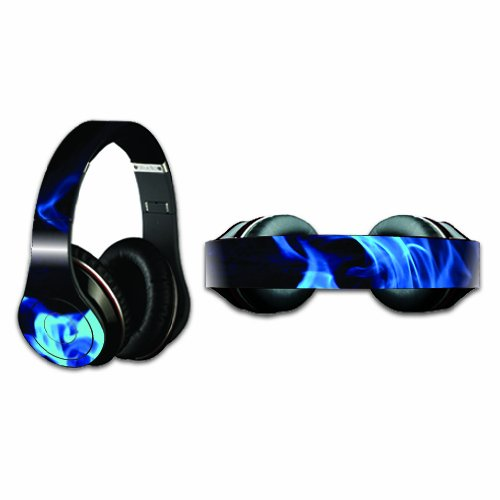 Mightyskins Protective Vinyl Skin Decal Cover For Dr. Dre Beats Studio Headphones Sticker Skins Blue Flames