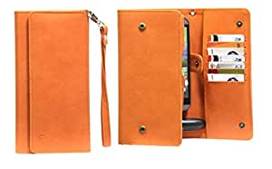 J Cover A13 Nillofer Leather Wallet Universal Phone Pouch Cover Case For Allview Twin X2 Orange