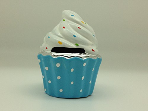 Ceramic Cupcake Bank - Blue - 1