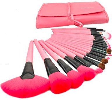 化粧 メイクブラシ セット 24本セット 可愛いピンク 携帯 便利