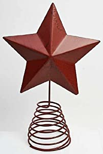 #!Cheap Painted Metal Star Tree Topper with Coil Spring Base