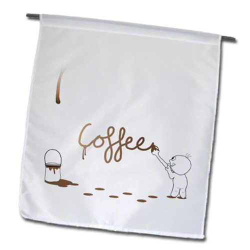 Fl_57511_1 Inspirationzstore Drip Guy - Cute Drip Guy Writing Coffee With Brush And Fake Drop Of Brown Coffee Paint - Cool Faux Stain - Flags - 12 X 18 Inch Garden Flag