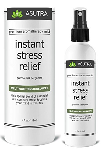 """Premium Aromatherapy Mist - """"INSTANT STRESS RELIEF"""" - Melt Your Tensions Away, 100% ALL NATURAL & ORGANIC Room & Body Mist, Essential Oil Blend - Patchouli & Bergamot - 100% GUARANTEED"""