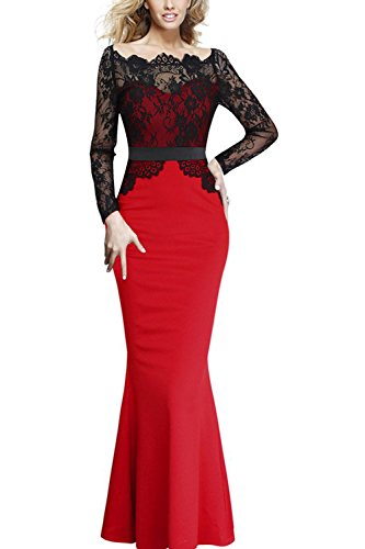 Viwenni Women Lace Maxi Cocktail Party Evening Fromal Gown Dress, Red, Large
