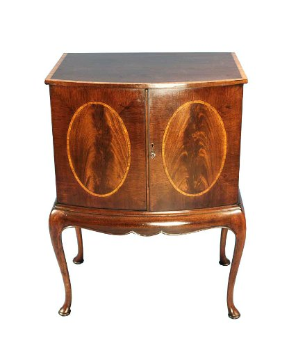 Image of English Antique Style Mahogany Bow Front TV Cabinet (B008Z29KLU)