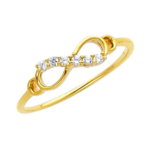 14K Yellow Gold Infinity CZ Cubic Zirconia Promise Ring Band - Size 7.5