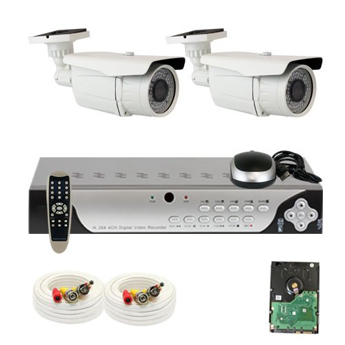 "Best Sale High End Professional 4 Channel H.264 960H & D1 Realtime Dvr Security Camera System With 2 X 1/3"" Sony Super Had Ccd Ii Outdoor Camera, 700 Tv Lines, 2.8~12Mm Manual Zoom Lens,72 Ir Leds, 196 Feet Ir Distance. 960×480 & 30Fps Recording. Iphone,"