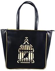 NIDO Black Cage Laser Cut Tote Bag -A132
