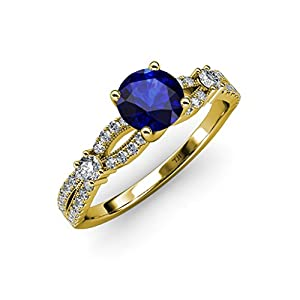 Blue Sapphire and Diamond Split Shank Engagement Ring 1.40 ct tw in 14K Yellow Gold.size 8