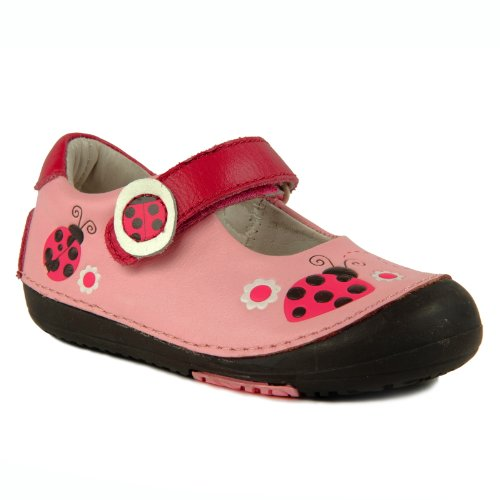 Momo Baby First Walker/Toddler Ladybugs Pink Mary Jane Leather Shoes - 5 M Us Toddler front-1066768