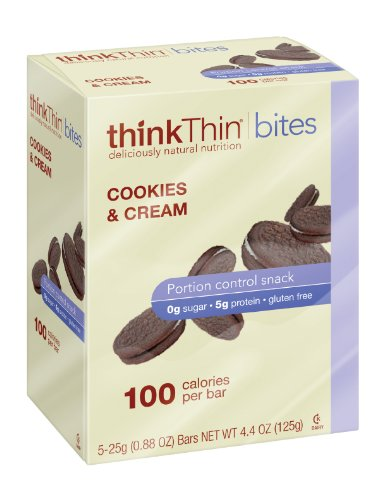 thinkThin BITES 100 Calorie Cookies and Cream, Gluten Free, 5-Count, 4.4-Ounce Boxes (Pack of 6)