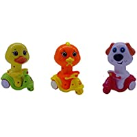 Smiles Creation A Set Of 3 Scooter Riders Cartoon Bird ,Ducky & Doggie With Press & Go Function Toy For Kids …