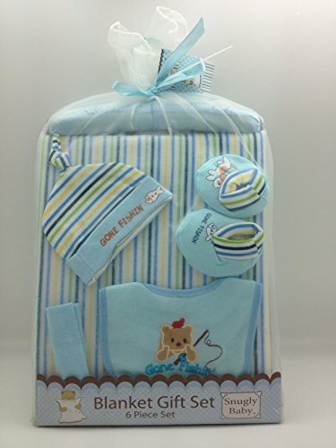 Baby Blanket Gift Set - 6 piece w/Washcloth, Blanket, Hat, Bib, Hanger, Booties (Blue)