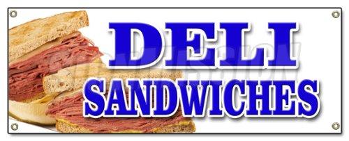 DELI SANDWICHES BANNER SIGN delicatessen sub cornbeef pastrami roll pickels (Deli Banner compare prices)