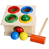 Arshiner Multi-color Small Hit Ball Box Toys,Wooden Pound Toy For Kids,Wooden Hammering Toy