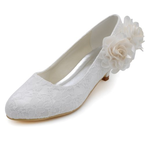 ElegantPark EP2130 Women's Comfort Low Heel Closed Toe Pumps Lace Up Flowers Satin Wedding Bridal Shoes Ivory US 9