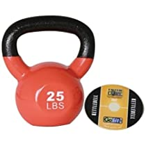 Get Back in Shape with GoFit 25-Pound Orange Kettlebell with Vinyl Coating, Iron Core Training DVD and Exercise Booklet