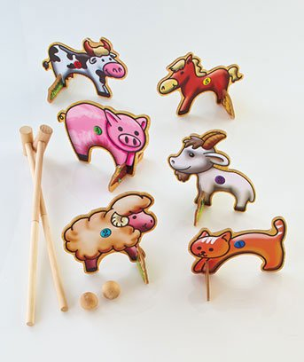 10-piece Wooden Farm Animals Croquet Game for Two