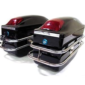 Amazon.com : TMS® Cruiser Motorcycle Hard Saddle Bags Black Trunk Bag