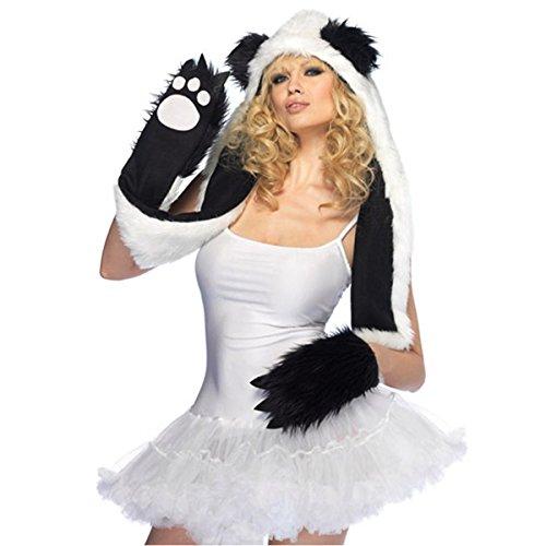 GSG Plush Panda Bear Hood Adult Teen Junior Hooded Paw Scarf Halloween Costume (Bear Hood With Paw Scarf)