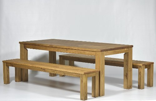 Table 208 x 90 cm Solid Pine / Colour: Brazil + 2 Benches 208 cm Waxed and Oiled